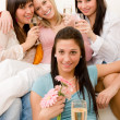 Birthday party - group of woman celebrate — Stock Photo