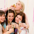 Birthday party celebration - four woman with confetti have fun — Stock Photo #5193441