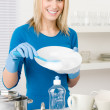 Stock Photo: Modern kitchen - happy womwashing dishes