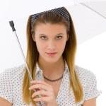 Fashion - young woman umbrella designer clothes — Stock Photo #5193803
