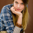 Fashion model - young woman country style - Stock Photo