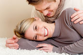 Couple in love - happy relax at home — Stok fotoğraf