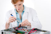 Female support computer engineer - woman repair — ストック写真
