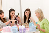 Birthday party - cheerful woman take photo — Stock Photo
