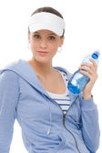 Sport - young woman fitness outfit water bottle — Stock Photo