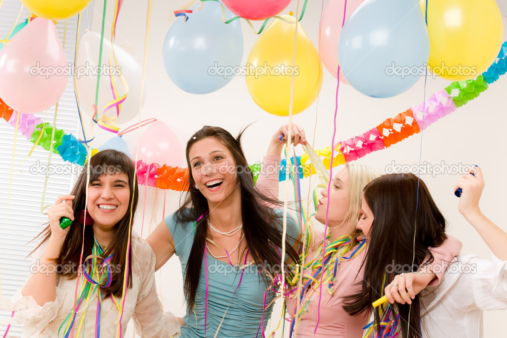 Birthday party celebration - four woman with confetti have fun, toast, dance — Stock Photo #5193447