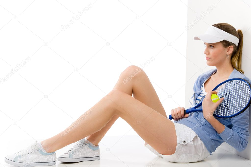 Tennis player - young woman with racket in fitness outfit — Stock Photo #5193749