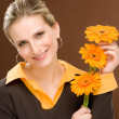 Royalty-Free Stock Photo: Flower romantic woman hold gerbera daisy