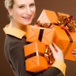 Present woman celebration hold happy — Foto de Stock