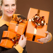 Present woman celebration hold happy — Stockfoto