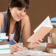 Home study - woman teenager write notes — Foto Stock