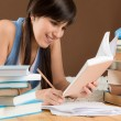 Stock Photo: Home study - womteenager write notes