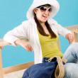 Stock Photo: Summer - young happy woman relax sunny