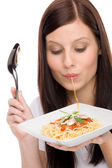 Italian food - portrait woman eat spaghetti sauce — Stock Photo