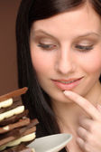 Chocolate - portrait young woman temptation — Stock Photo
