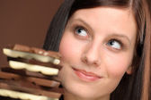 Chocolate - portrait young healthy woman — Stock Photo