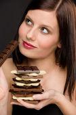 Chocolate - portrait healthy woman enjoy sweets — Stock Photo