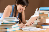 Home study - woman teenager write notes — Stok fotoğraf