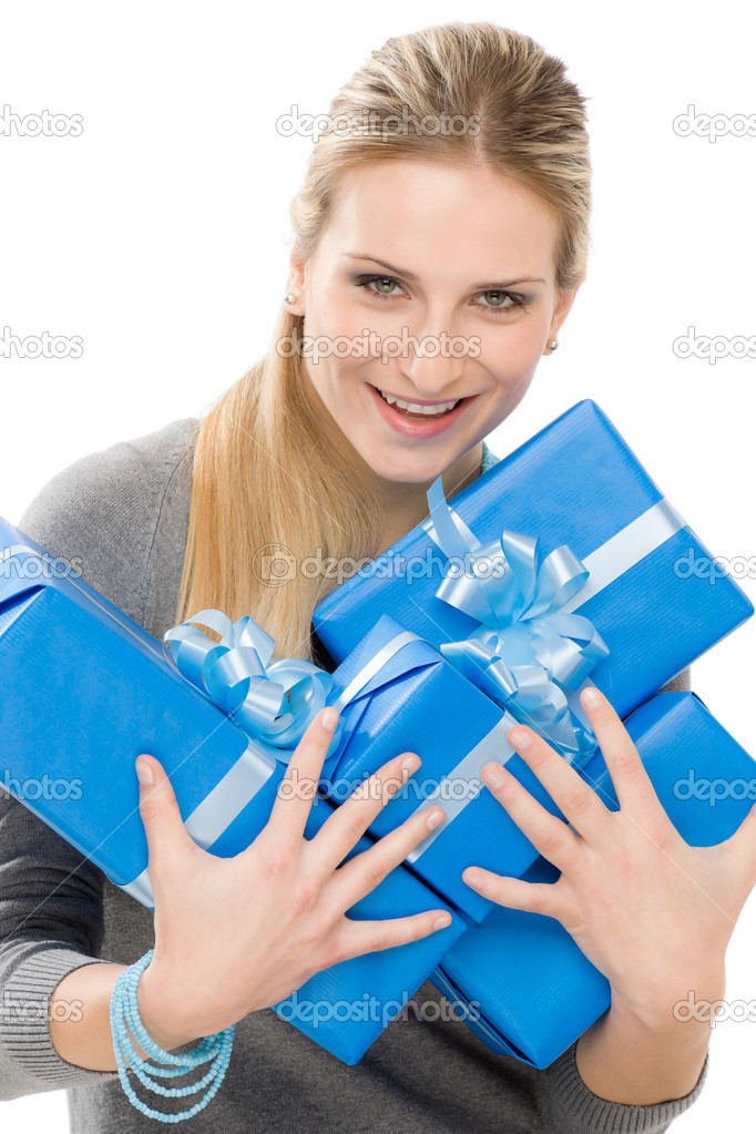Young happy woman hold blue present with ribbon — Stock Photo #5497944