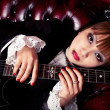 Gothic Guitar Queen - Stock Photo