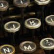 Detail of a typewriter, close up on keys — Stock Photo