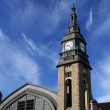Clock tower of Hamburg mail railway station — Stock Photo #5250015