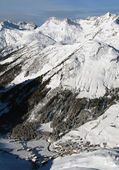 Winter in valley in Alps — Stock Photo