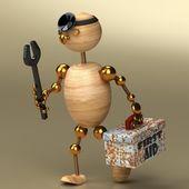 Wood man doctor — Stock Photo