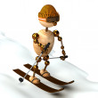 Wood man skiing down a slope — Stock Photo