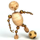 Holz mann mit fußball 3d gerendert — Stockfoto