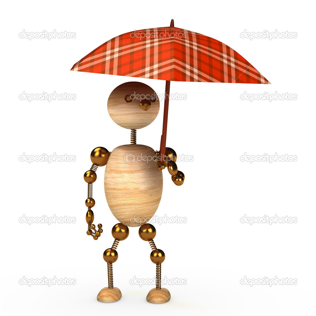 Wood man under umbrella 3d rendered for web — Stock Photo #4626548