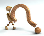 Wood man lifting question mark — Stock Photo