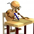 3d wood man is writing a letter isolated — Stok fotoğraf