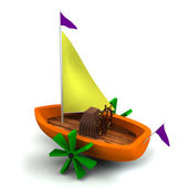 Toy boat isolated on white — Stock Photo