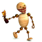 3d wood man with a molotov cocktail isolated — Stock Photo