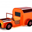3d orange toy car isolated - ストック写真