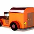 Stock Photo: 3d orange toy car isolated
