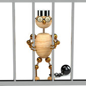 3d wood man as a prisoner — Stock Photo