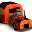 3d wood man as a driver — Stock Photo