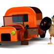 Royalty-Free Stock Photo: 3d wood man change orange truck tire