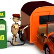 Stock Photo: 3d wood mwith petrol pump