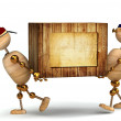 Two 3d wood man carring big wooden box — Stock Photo