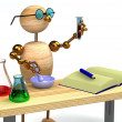 3d wood man as chemist holding tube - Stock Photo