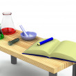 3d chemist table with a test tubes — Stock Photo