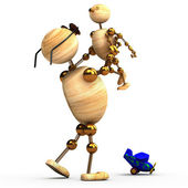3d wood man holding a chlid — Stock Photo