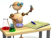 3d wood man as chemist holding tube — Stock Photo