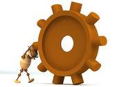 3d wood man spinning a gearwheel — Stock Photo