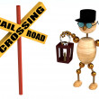 3d railroad crossing sign and wood man — Stock Photo