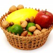 Stock Photo: Basket with fruits and nuts