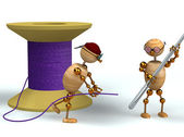 3d man and purple bobbin with needle — Stock Photo